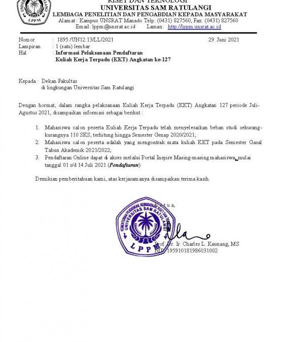 Pemberitahuan Pelaksanaan Kuliah Kerja Terpadu (KKT) Angkatan Ke-127