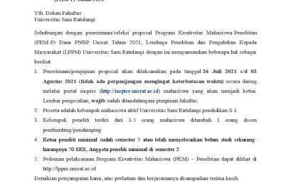 Penerimaan Proposal PKM untuk mahasiswa dana PNBP